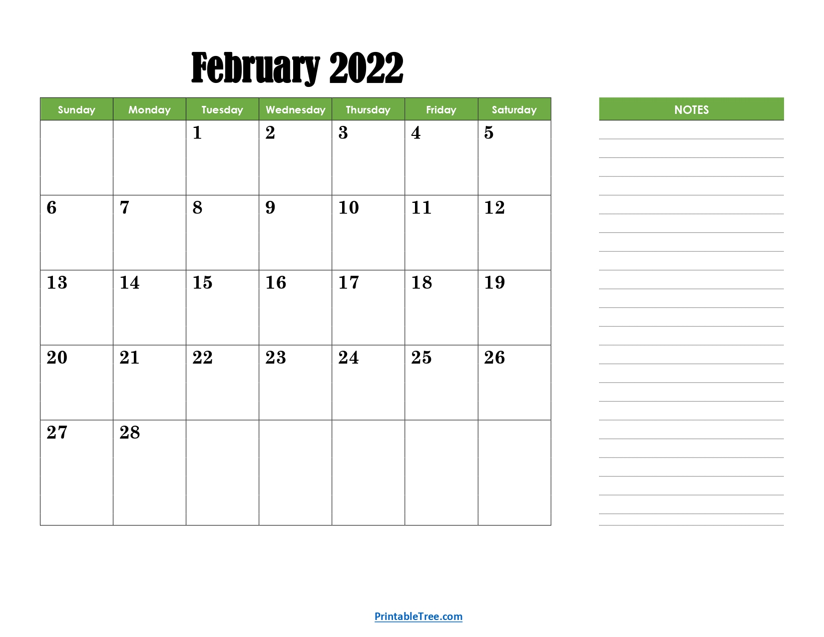 February 2022 Calendar with Green Notes