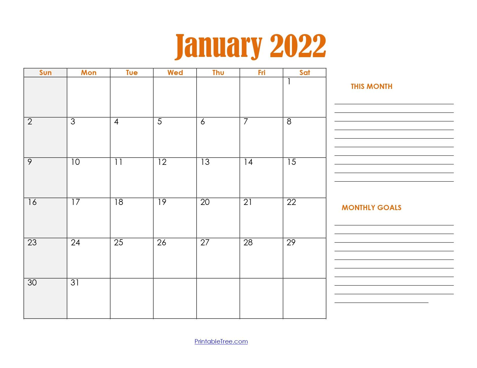 January 2022 Calendar with Goals